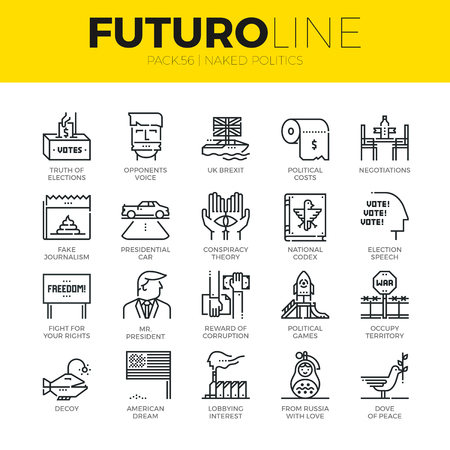 Unique thin line icons set of truth about politics and political games. Premium quality outline symbol collection. Modern linear pictogram pack of metaphors. Stroke vector logo concept for web graphics Ilustração