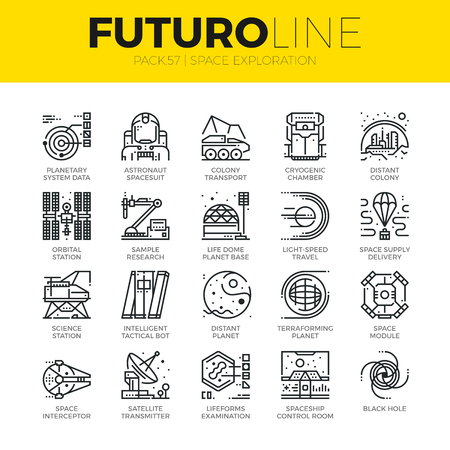 Unique thin line icons set of space exploration and planetary base. Premium quality outline symbol collection. Modern linear pictogram pack of metaphors. Stroke vector logo concept for web graphics. Ilustração