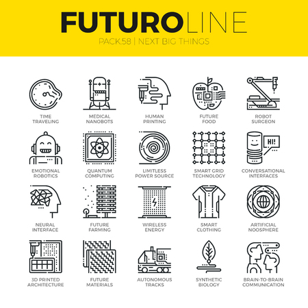 Unique thin line icons set of new future innovations in technology. Premium quality outline symbol collection. Modern linear pictogram pack of metaphors. Stroke vector logo concept for web graphics. Illustration