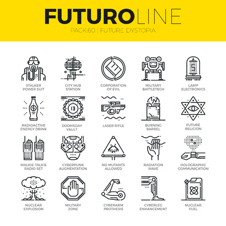 Unique thin line icons set of future world dystopia, nuclear disaster. Premium quality outline symbol collection. Modern linear pictogram pack of metaphors. Stroke vector logo concept for web graphics.