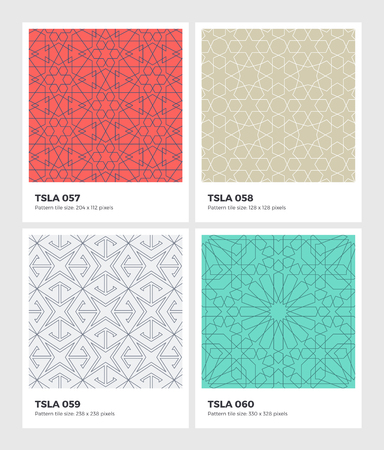 Seamless vector pattern background with swatches. Clean geometrical design of mosaic decoration. Decorative line texture of Islamic traditional art. Abstract pattern geometry, based on isometric grid.
