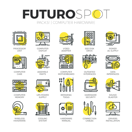 Stroke line icons set of computer hardware and electronics parts. Modern flat linear pictogram concept. Premium quality outline symbol collection. Simple vector material design of web graphics.