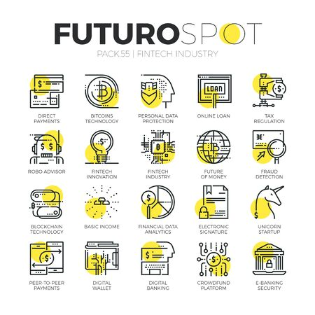 Stroke line icons set of fintech industry, finance digitization. Modern flat linear pictogram concept. Premium quality outline symbol collection. Simple vector material design of web graphics.