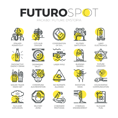 Stroke line icons set of future world dystopia, nuclear disaster. Modern flat linear pictogram concept. Premium quality outline symbol collection. Simple vector material design of web graphics.