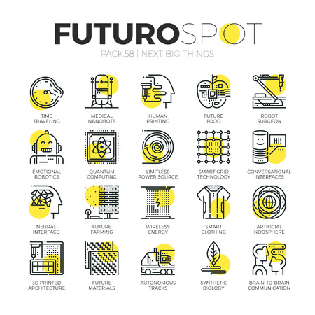Stroke line icons set of new future innovations in technology. Modern flat linear pictogram concept. Premium quality outline symbol collection. Simple vector material design of web graphics.