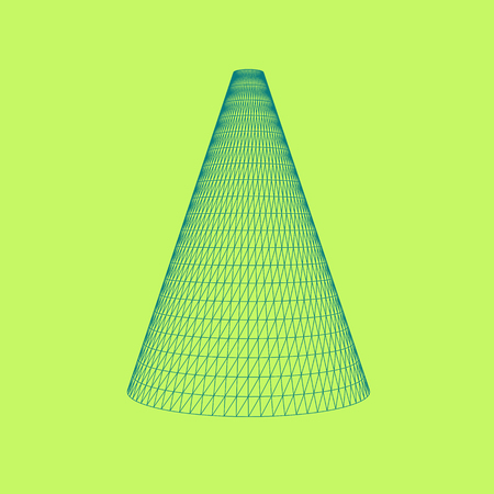 Vector illustration of Cone, perfectly formed geometrical solid figure. Three-dimensional transparent object. Abstract polygonal shape and simple geometric form. Isolated on colored background.