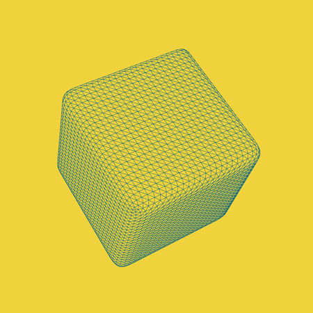 Vector illustration of 3D cube, regular platonic solid figure. Three-dimensional transparent object. Abstract polygonal shape and simple geometric form. Isolated on colored background.
