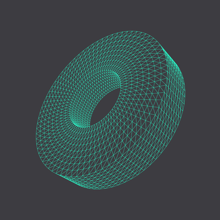 Vector illustration of 3D disc or tube, regular segmented solid figure. Three-dimensional transparent object. Abstract polygonal shape and simple geometric form. Isolated on colored background.