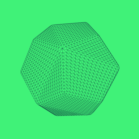 Vector illustration of Dodecahedron, regular platonic solid figure. Three-dimensional transparent object. Abstract polygonal shape and simple geometric form. Isolated on colored background. Illustration