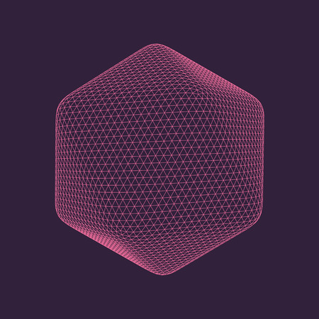 Vector illustration of Icosahedron, regular platonic solid figure. Three-dimensional transparent object. Abstract polygonal shape and simple geometric form. Isolated on colored background.