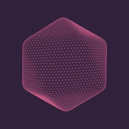 Ilustración vectorial de icosaedro, figura sólida platónica regular. Objeto transparente tridimensional. Forma poligonal abstracta y forma geométrica simple. Aislado en el fondo de color.