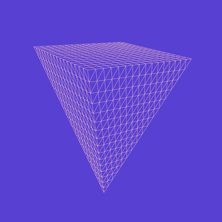 Vector illustration of Pyramid, three-dimensional geometrical solid figure. Volumetric transparent base object. Abstract polygonal shape and simple geometric form. Isolated on colored background.
