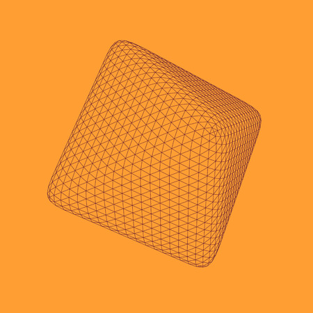 Vector illustration of 3D rhombus, regular platonic solid figure. Three-dimensional transparent object. Abstract polygonal shape and simple geometric form. Isolated on colored background.