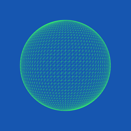 Vector illustration of Sphere, perfectly round geometrical solid figure. Three-dimensional transparent object. Abstract polygonal shape and simple geometric form. Isolated on colored background. Ilustracja