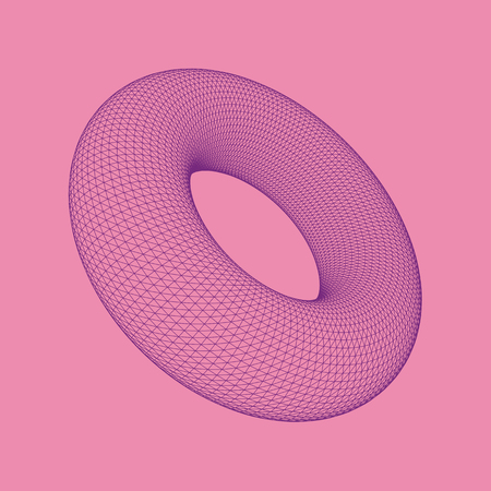 Vector illustration of Torus, surface of revolution generated by revolving a circle in three-dimensional space. Abstract polygonal shape and simple geometric form. Isolated on colored background. 矢量图像