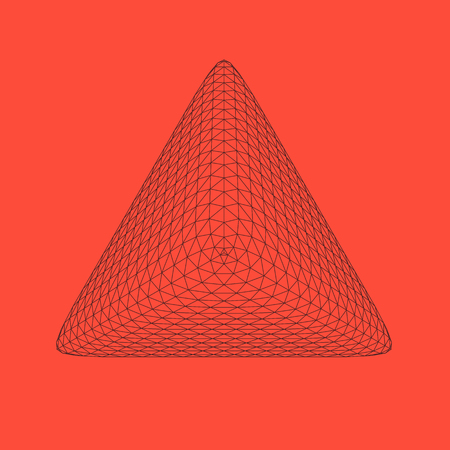 Vector illustration of Triangle, polygonal formed geometry base figure. Three-dimensional transparent object. Abstract polygon shape and simple geometrical form. Isolated on colored background.