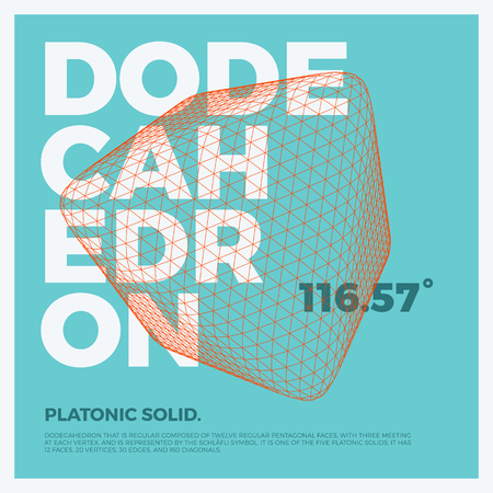 Typographic poster art with vector three-dimensional shape of polygonal dodecahedron. Abstract geometry illustration artwork for web design, template form, banner, presentation, brochure, cover. Vectores