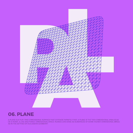 Typography poster art with vector polygonal planar grid shape composition. Abstract geometry illustration artwork, perfect for web design, template form, banner, presentation, brochure, cover.
