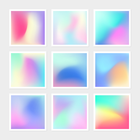 Vibrant gradient banner pack of vector hologram texture collection. Bright colorful backdrop of texture background for creative web design, graphics, presentation, prints, book cover, fashion elements Illustration