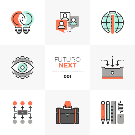 Semi-flat icons set of business development and work process in unique color flat graphics elements with stroke lines.