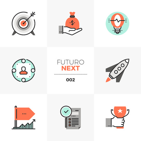 Icon set of business goal and awards Vettoriali