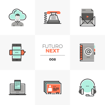 Icons set of business communication and mobile connection Illustration
