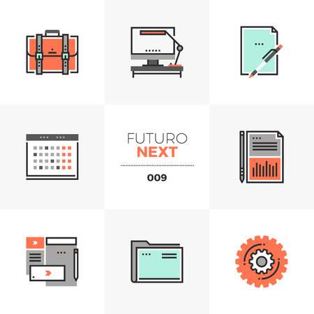 Semi-flat icons set of business and office things, work schedule. Unique color flat graphics elements with stroke lines. Premium quality vector pictogram concept for web, logo, branding, infographics.