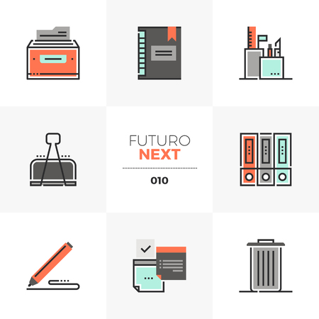 Icons set of office tools and equipment