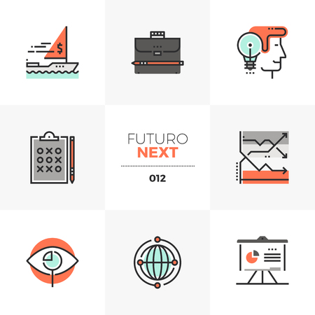 Semi-flat icons set of investment strategy, ways of making money . Unique color flat graphics elements with stroke lines. Illustration