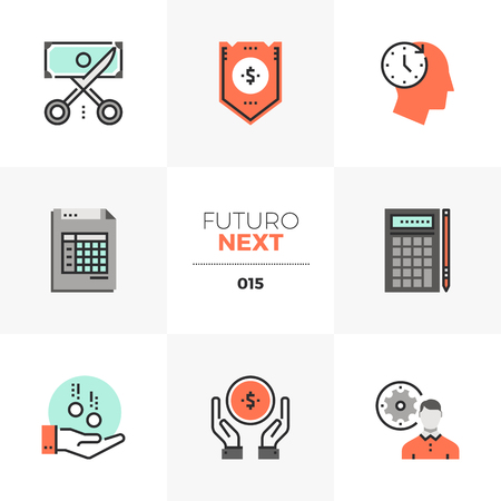 Semi-flat icons set of company budget management, accounting taxes. Unique color flat graphics elements with stroke lines. Illustration