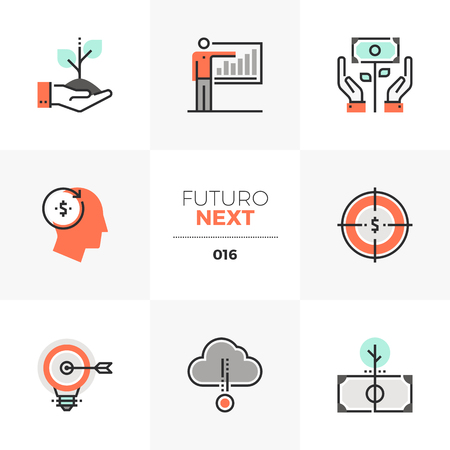 Semi-flat icons set of smart investing and crowdsource capital. Unique color flat graphics elements with stroke lines.