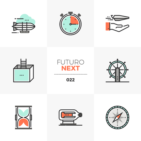 Semi-flat icons set of business perspectives and new horizons. Unique color flat graphics elements with stroke lines. Premium quality vector pictogram concept for web, logo, branding, infographics. Illustration