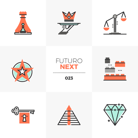 Semi-flat icons set of business symbols and strategy elements.