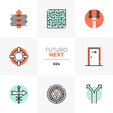 Semi-flat icons set of business concepts of moving forward. Illustration
