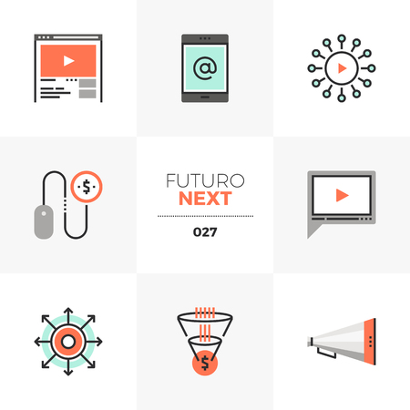 Semi-flat icons set of digital marketing, video advertising. Illustration