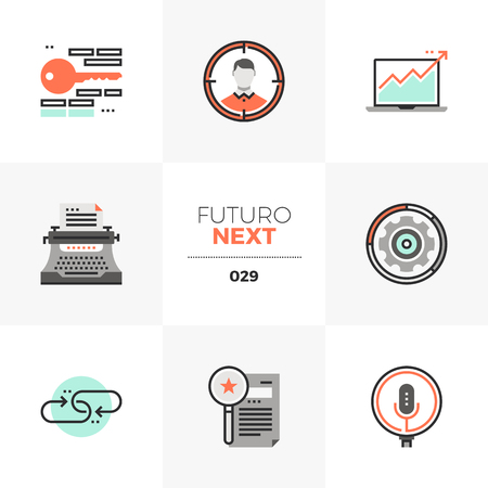 Semi-flat icons set of internet search marketing, growth hacking. Illustration