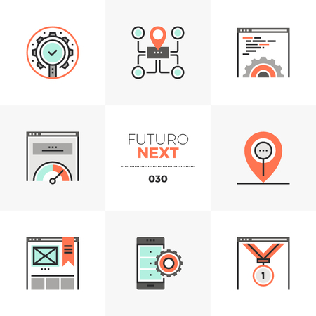 Semi-flat icons set of search optimization tools, SEO development. Illustration