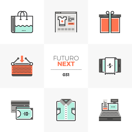 Semi-flat icons set of e-commerce store