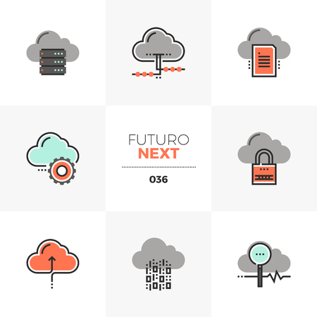 Semi-flat icons set of cloud computing technology, network server. Unique color flat graphics elements with stroke lines. Premium quality vector pictogram concept for web, logo, branding, infographics.