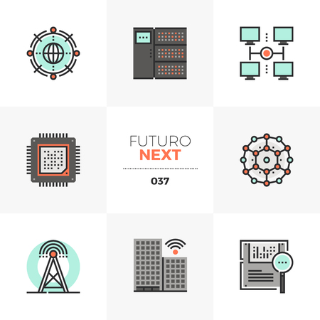 Semi-flat icons set of smart city wireless network infrastructure. Unique color flat graphics elements with stroke lines. Premium quality vector pictogram concept for web, logo, branding, infographics. Illustration