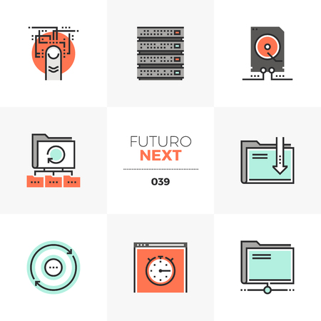 Semi-flat icons set of computer technology, network data transfer. Unique color flat graphics elements with stroke lines. Illustration