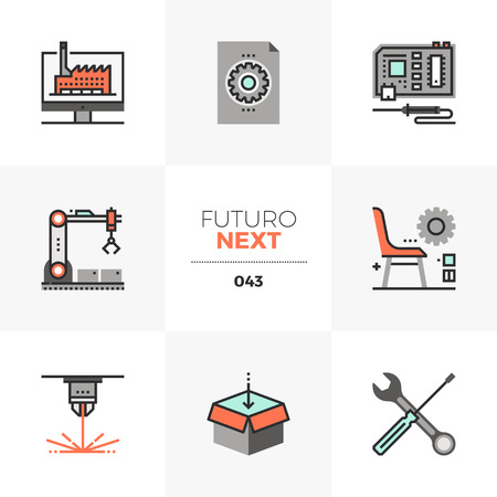 Semi-flat icons set of fab lab development, digital production in Unique color flat graphics elements with stroke lines. Illustration