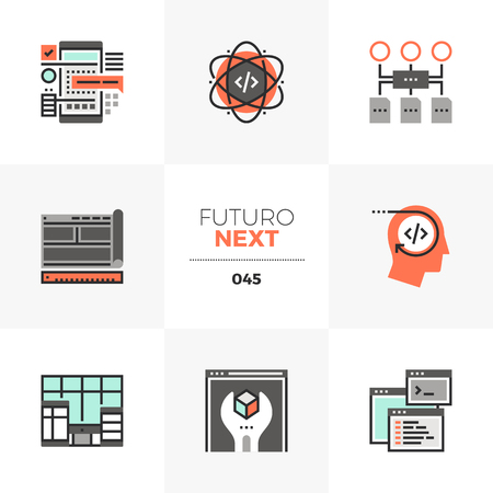 Semi-flat icons set of app development coding and prototyping. Unique color flat graphics elements with stroke lines. Premium quality vector pictogram concept for web, logo, branding, infographics.