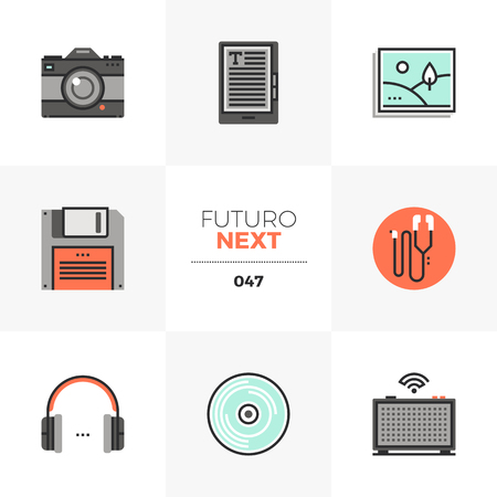 Semi-flat icons set of multimedia devices, photo camera, headphones. Unique color flat graphics elements with stroke lines. Premium quality vector pictogram concept for web, logo, branding, infographics.