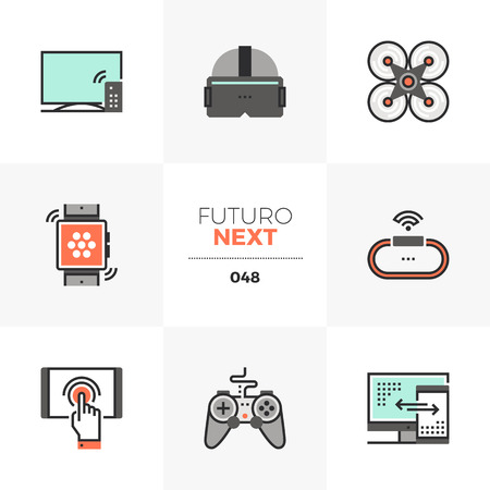 Semi-flat icons set of modern technology gadgets for entertainment. Unique color flat graphics elements with stroke lines. Premium quality vector pictogram concept for web, logo, branding, infographics.