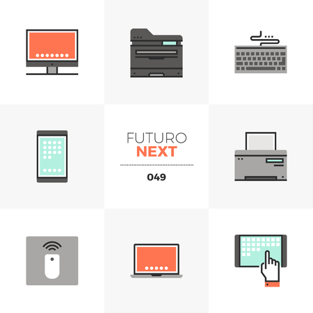 Semi-flat icons set of modern computer devices, technology gadgets. Unique color flat graphics elements with stroke lines. Premium quality vector pictogram concept for web, logo, branding, infographics.