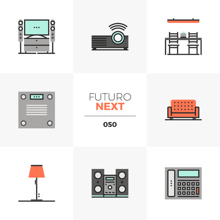 Semi-flat icons set of modern home furniture, household appliances. Unique color flat graphics elements with stroke lines. Premium quality vector pictogram concept for web, logo, branding, infographics.