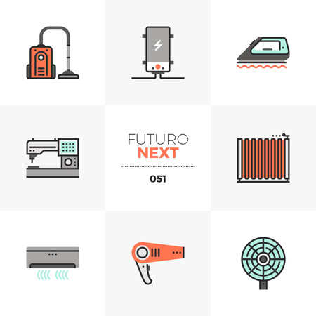 Semi-flat icons set of household appliances, home electronics. Unique color flat graphics elements with stroke lines. Premium quality vector pictogram concept for web, logo, branding, infographics. Illustration