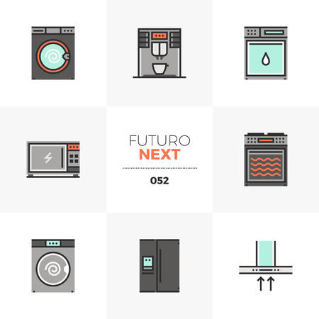 Semi-flat icons set of home appliances, household electronics. Unique color flat graphics elements with stroke lines. Premium quality vector pictogram concept for web, logo, branding, infographics. Illustration