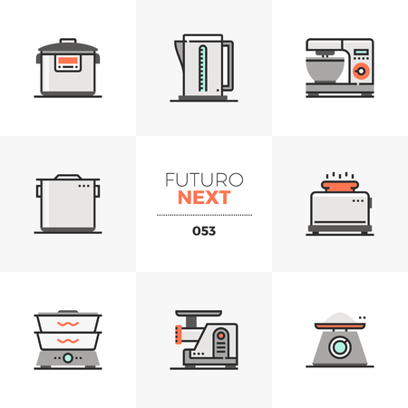 Semi-flat icons set of cookware equipment, kitchen appliances. Unique color flat graphics elements with stroke lines. Premium quality vector pictogram concept for web, logo, branding, infographics. Illustration